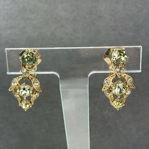 Vintage bogoff yellow rhinestone clip earrings